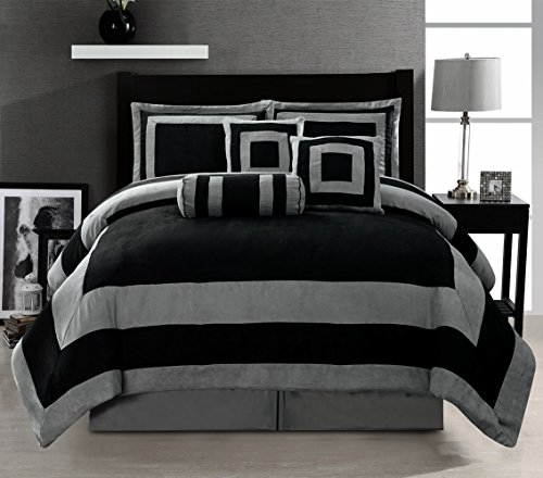 Grand Linen Oversize Black/Grey Comforter Set Micro Suede Patchwork Bed in A Bag Queen Size Bedding