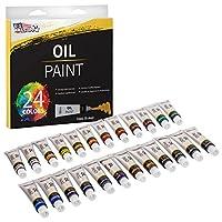 U.S. Art Supply Professional 24 colores de pintura al óleo artística en tubos de 12 ml: colores vivos e intensos para artistas, estudiantes y principiantes: pinturas de lienzo