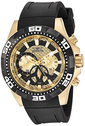Invicta Men's Aviator Stainless Steel Quartz Watch with Silicone Strap, Black, 23 (Model: 23756)