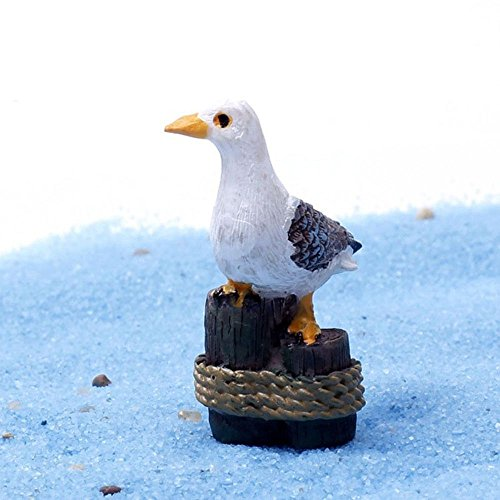 Blue Stones 1PC Sea Bird Seagull Stand Stump Miniature Fairy Garden Home Decoration Mini Craft Micro Landscaping Decor DIY Accessories