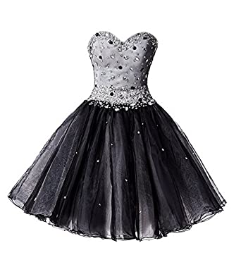 AngelDragon Tulle Beaded Cocktail Honecoming Prom Dresses Short Ball Gowns Custom Made Size Custom Made Colour