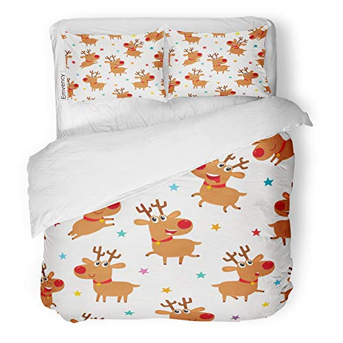 Emvency Decor Duvet Cover Set King Size Cute Cartoon Reindeers on White with Different Deers and Stars Magazine Book 3 Piece Brushed Microfiber Fabric Print Bedding Set Cover ()