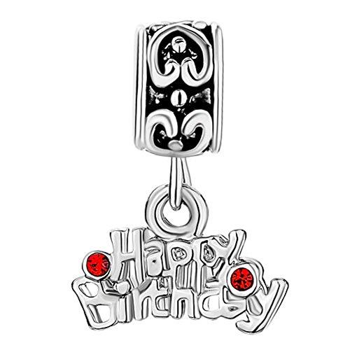 (Q&Locket Happy Birthday Cake Enamel Charms Bead Fit Charms Bracelet (Dangle Happy Birthday))