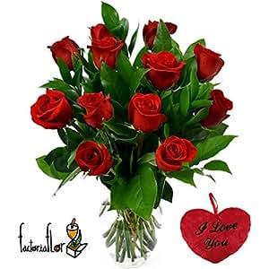 PACK REMEMBER 12 rosas rojas + Mug cerámica rojo+ Marco para fotos y mini peluche corazón I LOVE YOU 15 cm, añade tu dedicatoria personalizada.