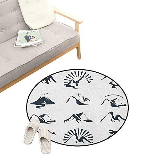 Blue and White Round Rug ,A Collection of Mountain Silhouettes Volcano River and Clouds Cartoon, Flannel Microfiber Non-Slip Soft Absorbent 47