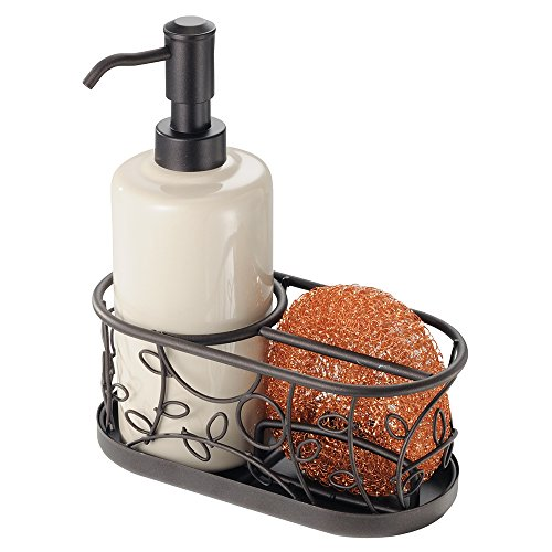 mdesign-kitchen-soap-dispenser-pump-with-sponge-and-scouring-pad-holder-bronze-vanilla