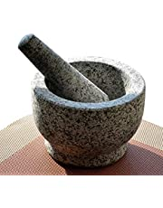 Nice2Mitu Guacamole Mortar and Pestle Set - Pestle and Mortar Bowl, molcajete, Unpolished Heavy Granite Large Capacity Spice Grinder with Muddler Kitchen Cooking Tool