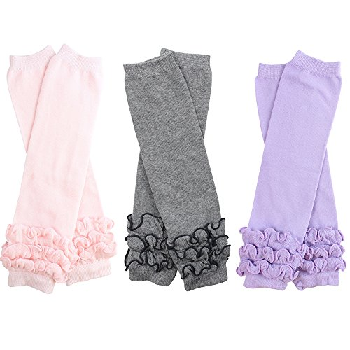 3 Pairs of girls juDanzy baby Leg Warmers for newborn, infant, toddler, child (One Size (10 pounds to 10+ years), pink, gray, lavender) (Infant Warmers Leg)