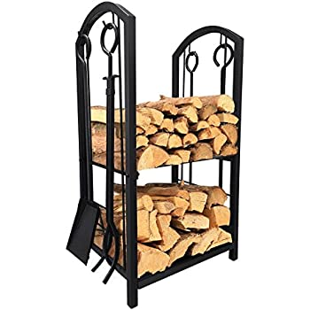 Amazon.com: Fireplace Log Rack with 4 Tools Indoor Outdoor ...