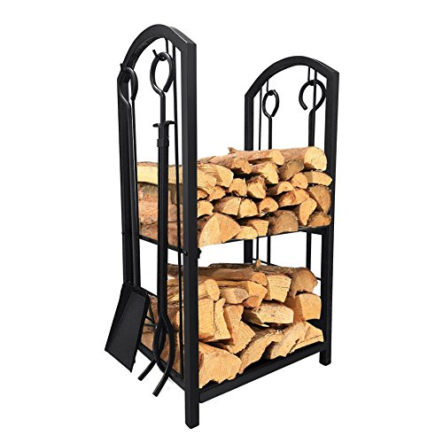 Decorative Black Scroll Stand (Fireplace Log Rack with 4 Tools Indoor Outdoor Fireside Firewood Holders Lumber Storage Stacking Black Wrought Iron Logs Bin Holder for Fireplace Tool set Brush Shovel Poker Tongs 15.8 x 29.1 x 11.8in)