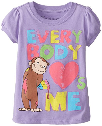 Curious George Little Girls' Toddler Short Sleeve T-Shirt, Lilac, 2T
