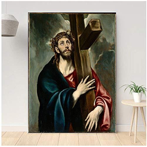 ad Jesucristo Famoso Lienzo Pintura por Pintor espanol Arte de la Pared Lienzo Pintura Cuadros Decorativos Sala de Estar decoracion -50x70 cm sin Marco