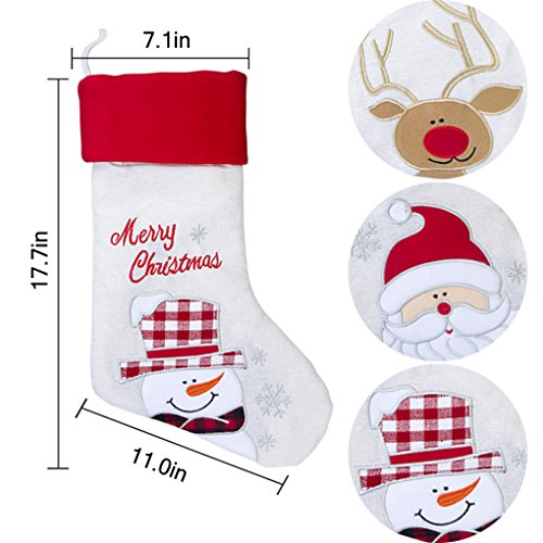 17'' Large Christmas Stockings Set of 3 with Santa, Reindeer, Snowman, Gospire Classic Linen Christmas Socks for Decorations Gift/Treat Bags by Gospire (Image #5)