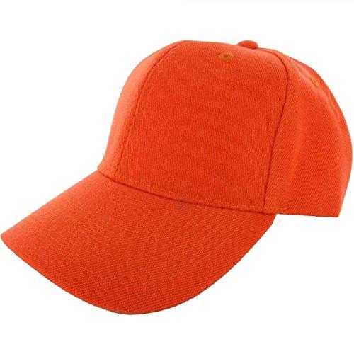 Hot Orange-100% Acrylic Plain Baseball Cap Baseball Golf Fishing Cap Hat Men Women Adjustable Velcro (US (Renaissance Skirt & Hat)