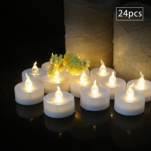 Cozeyat 24pcs Battery Operated Tea Lights, Flameless Candles Flickering LED Votives for Church, Choral, Wedding Party, Date Night, Christmas, Thanksgiving, Home Table Outside Window Decoration
