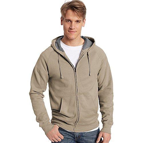 Hanes Mens Nano Premium Lightweight Full Zip Hoodie, Vintage Khaki, Medium
