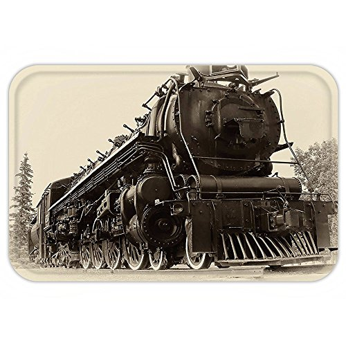 VROSELV Custom Door MatSteam Engine Antique Northren ExpresTrain Canada RailwayPhotography Freight Machine Print Decor Tan Dark Taupe (Tan Canada Towels)