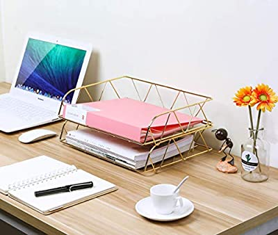 PAG Set of 2 Metal Stackable Horizontal File Document Letter Tray Office Desk Organizer