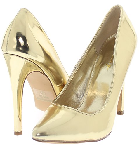 Dany Classic Pointy Toe Stiletto Pump Yuni (Gold 9) (Classic Metallic Pumps)