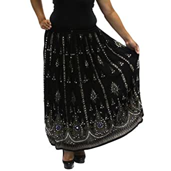 LSQ36 Black BOMBAYFASHIONS LONG SEQUIN Boho Gypsy Lightweight LINED Skirt with Purple and Blue Details