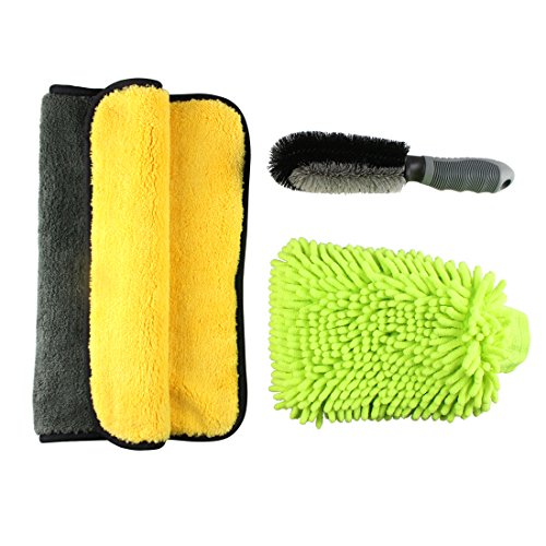 Car Cleaning Kit, auto cleaning tools with Wash Mitt/Tire Rim Scrub/Detailing Towels (3 PCS)