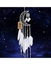 Dremisland Dream Catcher New Moon Design Handmade White Feather Wall Hanging Home Decoration Ornament Craft Gift (White Moon)