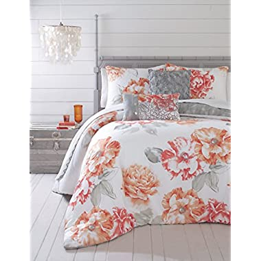 Jessica Simpson 3-Piece Golden Peony Comforter Set, Queen, Coral
