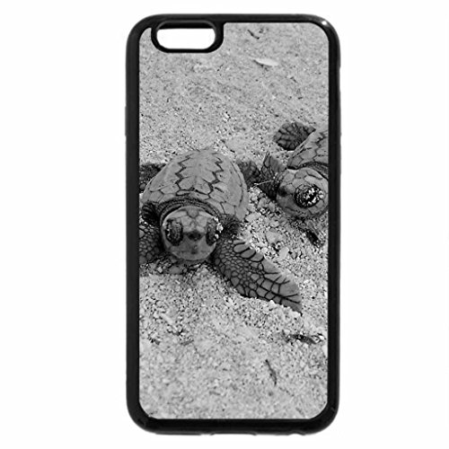 iPhone 6S Plus Case, iPhone 6 Plus Case (Black & White) - Blue Turtles on the Beach