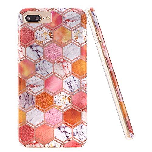 iPhone 7 Plus Case,iPhone 8 Plus Case,DOUJIAZ Geometric Pattern Hybrid Hard Back Soft TPU Raised Edge Shock Absorption Protective Case for iPhone 7 Plus/8 Plus-Rhombic & Marble