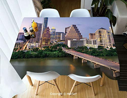 HooSo Premium Polyester Table Cover, Machine Washable, Durable Table Cloths for Wedding Reception Restaurant Banquet Party,Modern,Austin Texas American City Bridge Over The -