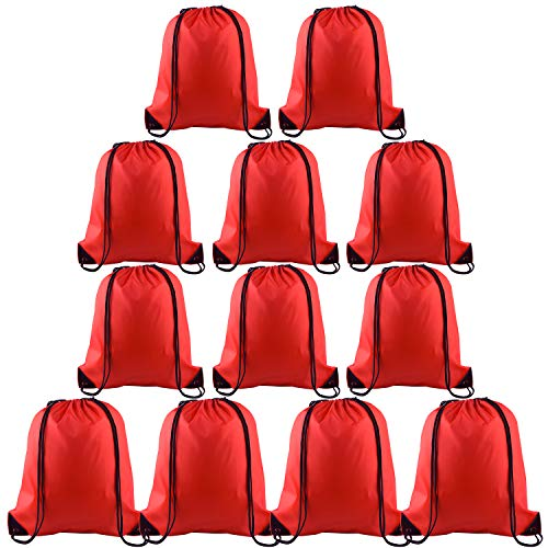 (KUUQA 12 Pcs Drawstring Backpack Bags Sport Gym Sack Cinch Bags for Traveling and Storage (Red))