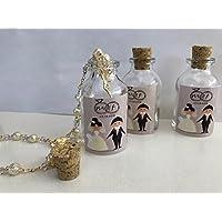 Botella de vidrio con Rosario Recuerdos de Boda , Bautizo , Comunión 10 piezas