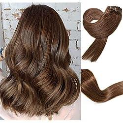 Clip In Hair Extensions Human Hair Double Weft Brazilian Hair 70g 7pcs Per Set Remy Hair Medium Brown Full Head Silky Straight 100% Human Hair Clip In Extensions(15 Inch #4)