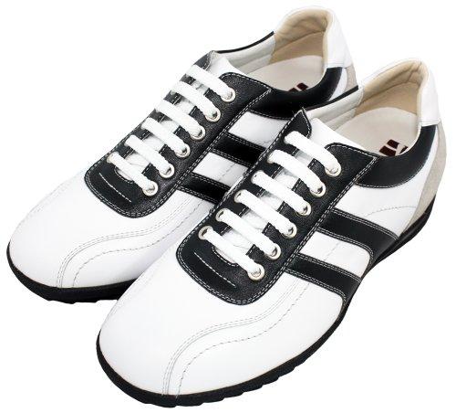 Toto-a66362-2.8 Pollici Scarpe Rialzanti Più Alte (scarpe Da Ginnastica Stringate In Pelle Bianca)