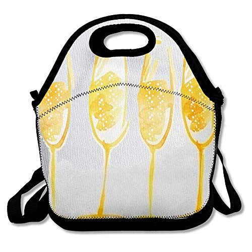 Insulated Lunch Bag Drinking Yellow Party Watercolor Champagne Wine Artwork Food Drink Artistic Bar Celebration Design Reusable Lunch Tote for Work and School (Sparkling Watercolor)