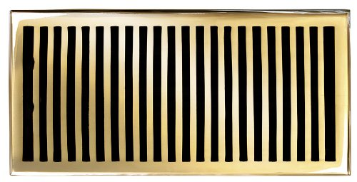 Brass Elegans 116HR-PLB Solid Cast Brass Contemporary 6-Inch by 12-Inch Floor Register, Polished Brass Finish Model