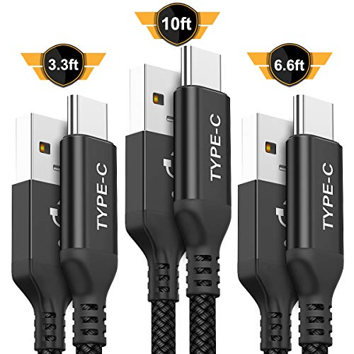 USB Type C Cable,AkoaDa 3-Pack (3.3ft+6.6.3ft+10ft) USB to USB C Cable Nylon Braided Fast Charger Cord for Samsung Galaxy S8 S9 Plus Note 8,Google Pixel XL,LG G5 G6 V20,Moto Z Z2(Black)