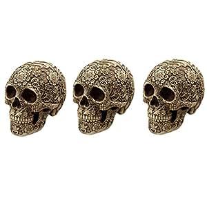 Homyl 3pcs Day of the Dead Ornament Skull Vintage Home Decor Desk Ornament Gift