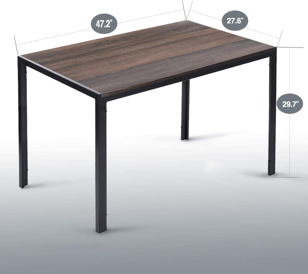 Aingoo Rustic Dining Table Wooden MDF 47 Vintage Kitchen Table for 4 6 Person Steel Fram Heavy Duty Brown Black Table Only