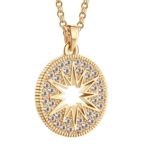 LAVILI Necklace Pendant Gift for Women with Gift Box Star and Moon Dainty O-Necklace Circle Necklace Disc Initial Necklace Gold Coin Necklace Arc Necklace ICY Necklace