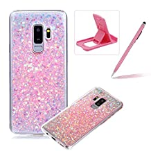 Rubber TPU Case for Samsung Galaxy S9 Plus,Herzzer Ultra Thin Slim Lightweight Color Changing Glittering Luxury Unique [Pink Sequins] Bling Bling Shiny Sparkle Soft Silicone Gel Clear Bumper Frame Cover for Samsung Galaxy S9 Plus + 1 x Free Pink Cellphone Kickstand + 1 x Free Pink Stylus Pen