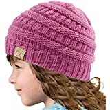 Kids CC Ages 2-7 Warm Chunky Thick Stretchy Knit Slouch Beanie Skull Hat New Lavender