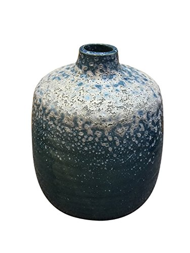 -02 Decorative Ceramic Vase W/Textured Body, Blue (Ceramic Textured Vases)