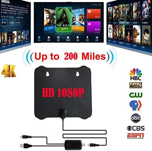 XuBa - Antena Plana de 200 Mile HD TV HDTV 1080P 4K DTV Sky Link TV Antena