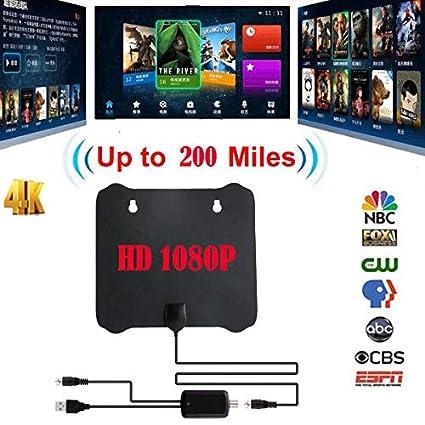 Amazon com: ETbotu TV Antenna 200 Mile Thin Flat Antenna HD