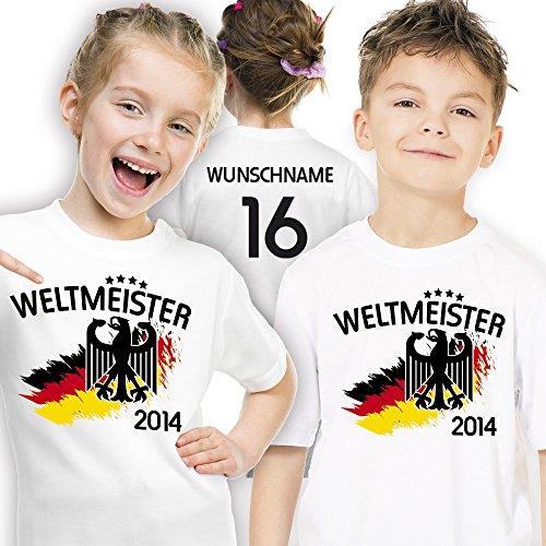 Deutschland Kinder T-Shirt zur Fussball WM 2014 personalisiert mit eigener Rückennummer und Wunschname Gr. 116