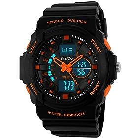 BesWLZ Multi Function Digital LED Quartz Watch Water Resistant Electronic Sport Watches Child Orange