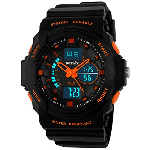 BesWLZ Multi Function Digital LED Quartz Watch Water Resistant Electronic Sport Watches Child Orange by BesWlz
