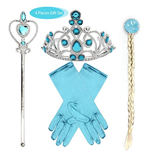 Girls Princess Dress up Accessories fedio 4 Pieces Gift Set Princess Gloves, Hair Braid, Tiara Crown and Wand for Kids (Blue)