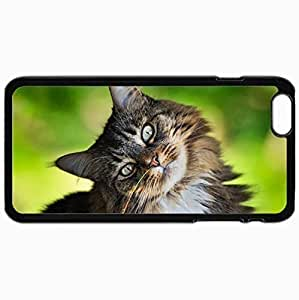 Customized Cellphone Case Back Cover For iPhone 6 Plus, Protective Hardshell Case Personalized Cat Eyes Grass Greens Black